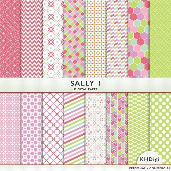 "Digital Paper - ""Sally 1""  KH Digi    Mygrafico"