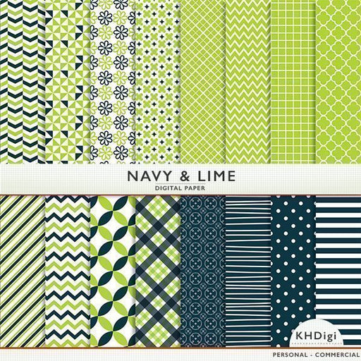 Navy And Lime Digital Paper  KH Digi    Mygrafico