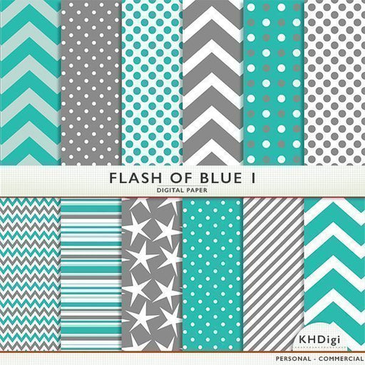Flash Of Blue 1 Digital Paper  KH Digi    Mygrafico