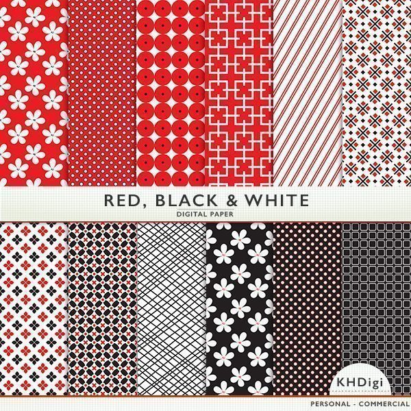 Red, Black, & White Digital Paper Digital Papers & Background KH Digi    Mygrafico