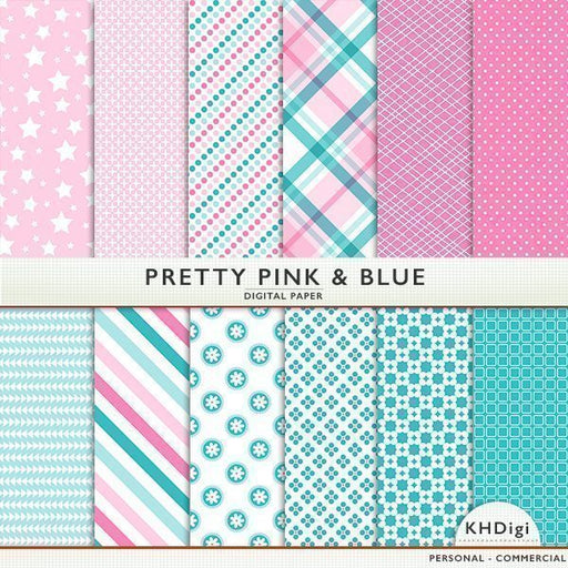 Pretty Pink & Blue Digital Paper  KH Digi    Mygrafico