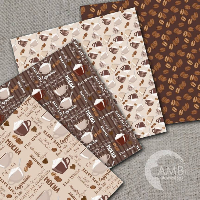 Coffee Digital Papers, Coffee Bean Papers, Coffee names paper, AMB-1563 Digital Paper & Backgrounds AMBillustrations    Mygrafico