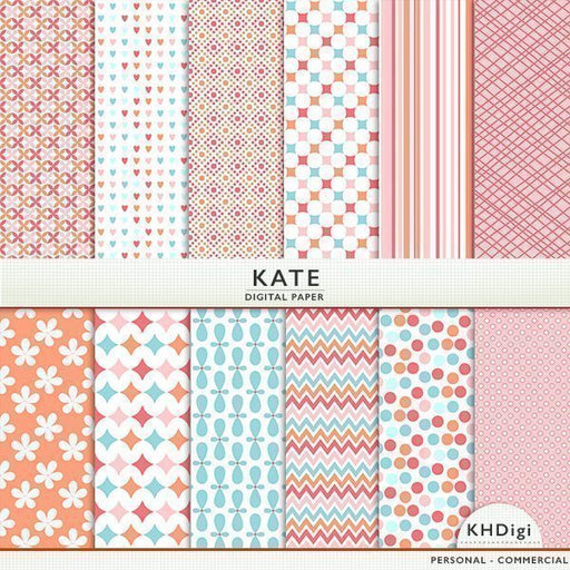 Kate - Coral Digital Paper Digital Papers & Backgrounds KH Digi    Mygrafico