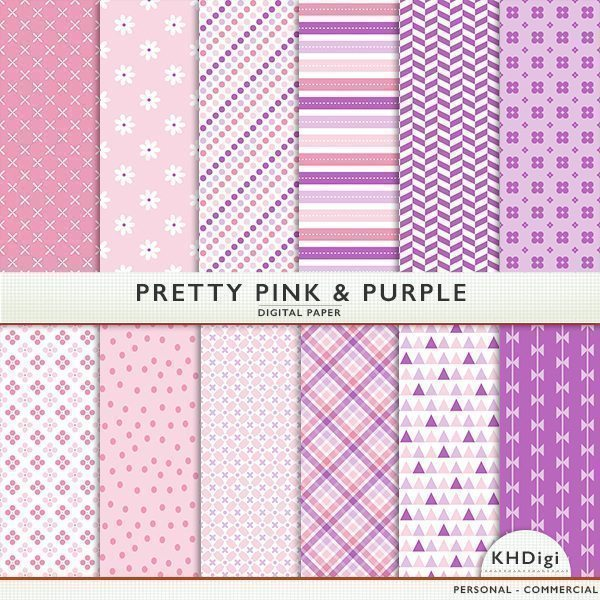Pretty Pink & Purple Digital Paper  KH Digi    Mygrafico