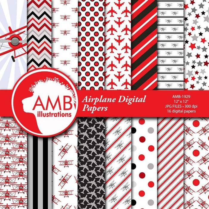 Airplane papers, Biplane papers, boy papers, man papers, color matching papers, Flying machine papers, Plane papers, AMB-1929 Digital Paper & Backgrounds AMBillustrations    Mygrafico