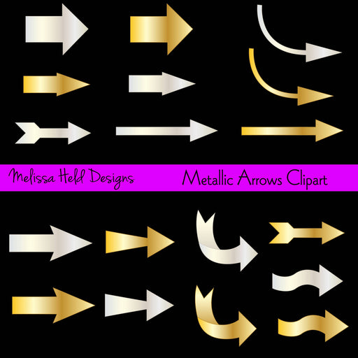 Gold and Silver Metallic Arrows Clipart Cliparts Melissa Held Designs    Mygrafico