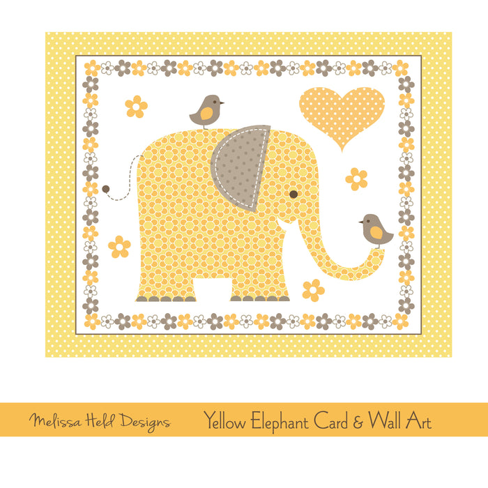 Yellow Elephant Card and Wall Art Digital Paper & Backgrounds Melissa Held Designs    Mygrafico