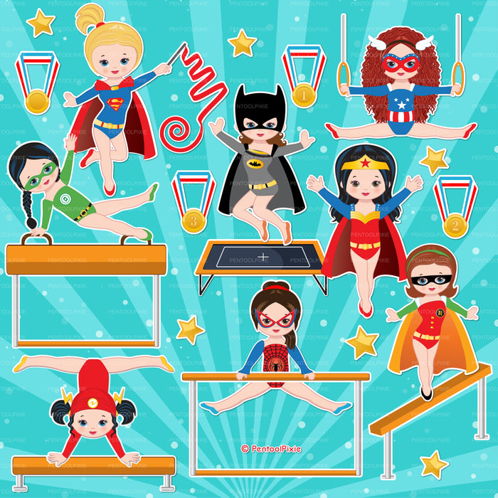 Superhero themed - Gymnastic girls Cliparts PentoolPixie    Mygrafico