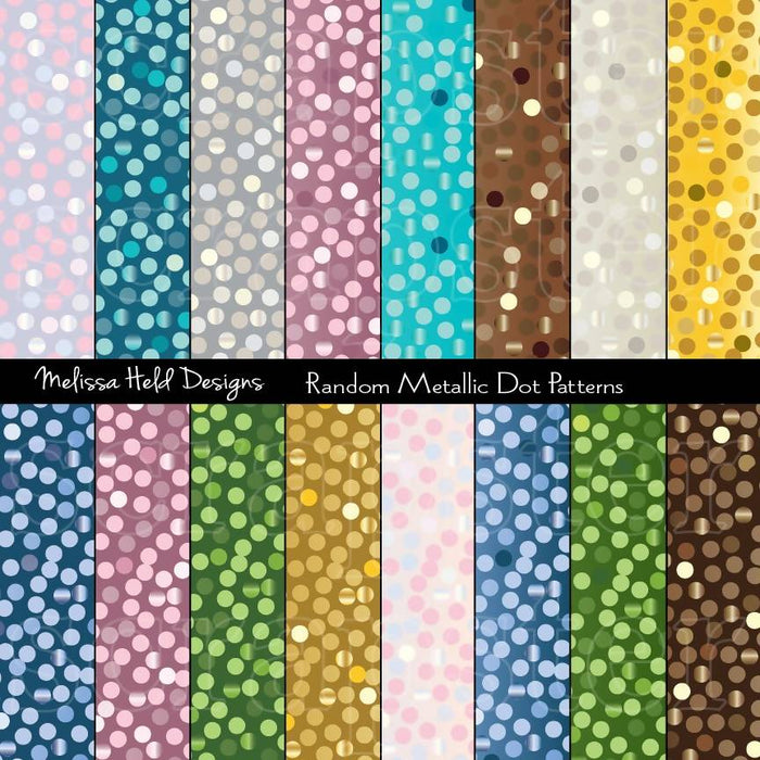 Random Metallic Dot Patterns Digital Paper & Backgrounds Melissa Held Designs    Mygrafico