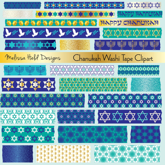 Chanukah Washi Tape Clipart SVG Cutting Templates Melissa Held Designs    Mygrafico