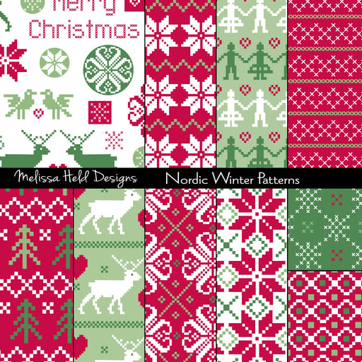 Nordic Winter Patterns Digital Paper & Backgrounds Melissa Held Designs    Mygrafico