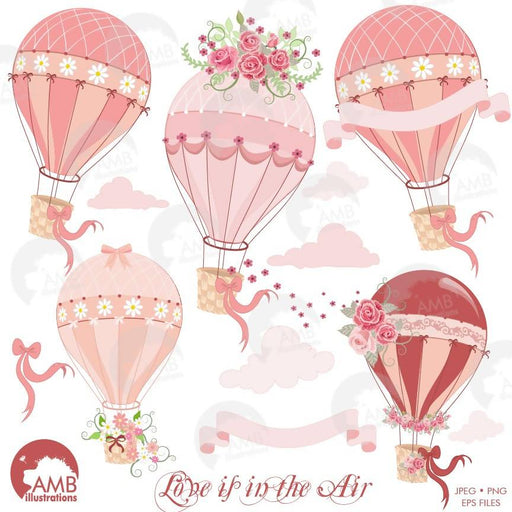 Wedding clipart, Hot Air Balloon Clipart, Bridal Shower clipart, Floral clipart, AMB-1231 Cliparts AMBillustrations    Mygrafico
