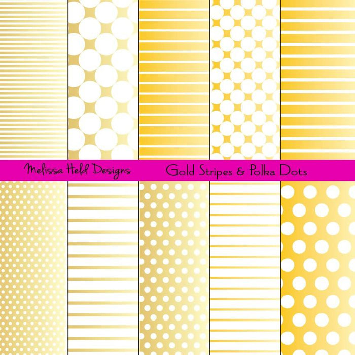 Gold Stripes and Polka Dots Patterns Digital Paper & Backgrounds Melissa Held Designs    Mygrafico