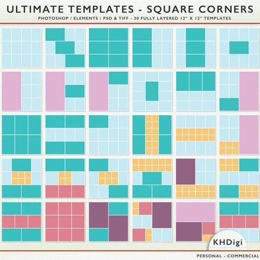 Ultimate Templates - Square Corners for Pocket Scrapbooking  KH Digi    Mygrafico
