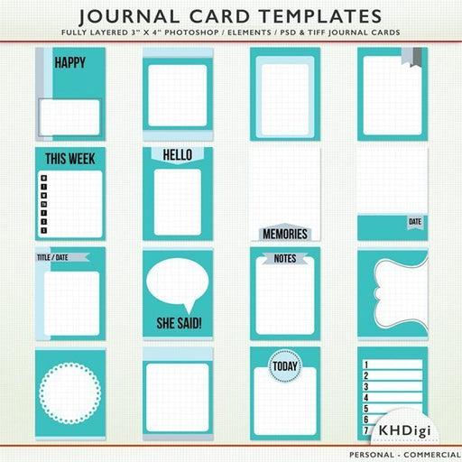 Journal Card Templates  KH Digi    Mygrafico