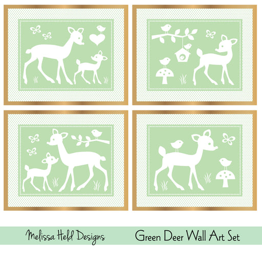 Green Deer Wall Art Set Digital Paper & Backgrounds Melissa Held Designs    Mygrafico