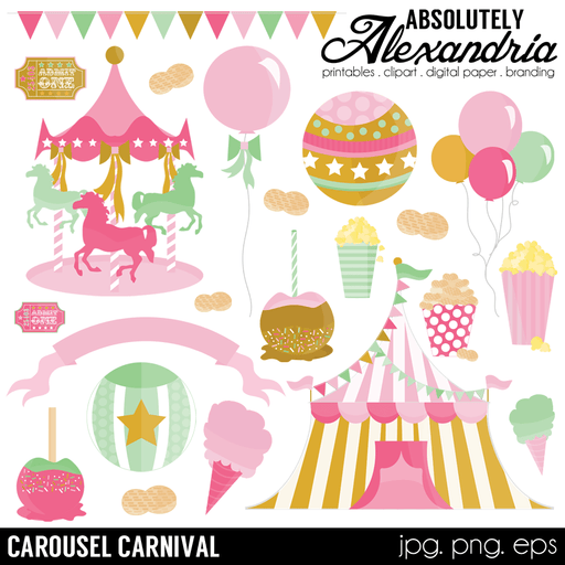Carousel Carnival Digital Clipart Graphics  Absolutely Alexandria    Mygrafico