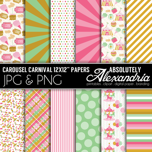 "Carousel Carnival 12x12"" Digital Background Graphics  Absolutely Alexandria    Mygrafico"