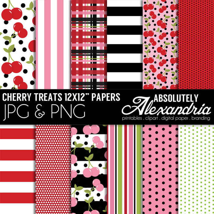 "Cherry Treats 12x12"" Digital Background Papers  Absolutely Alexandria    Mygrafico"