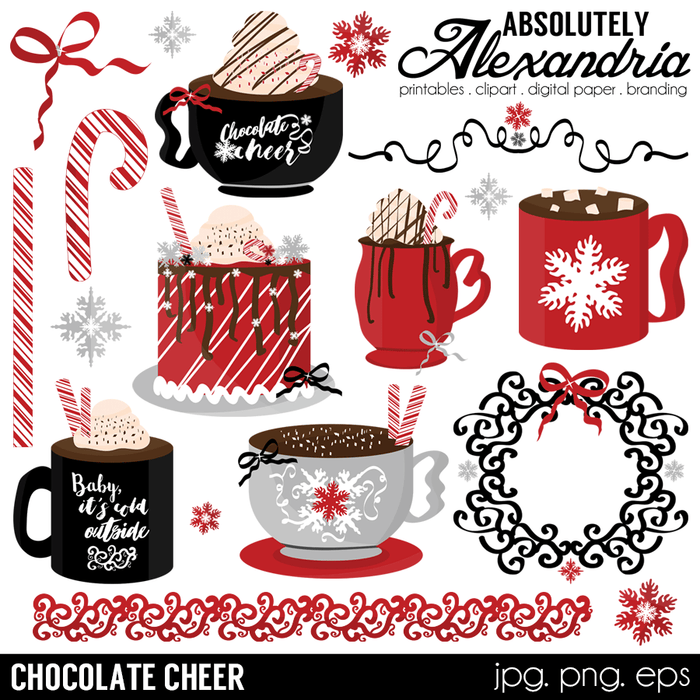 Chocolate Cheer Digital Clipart Graphics  Absolutely Alexandria    Mygrafico