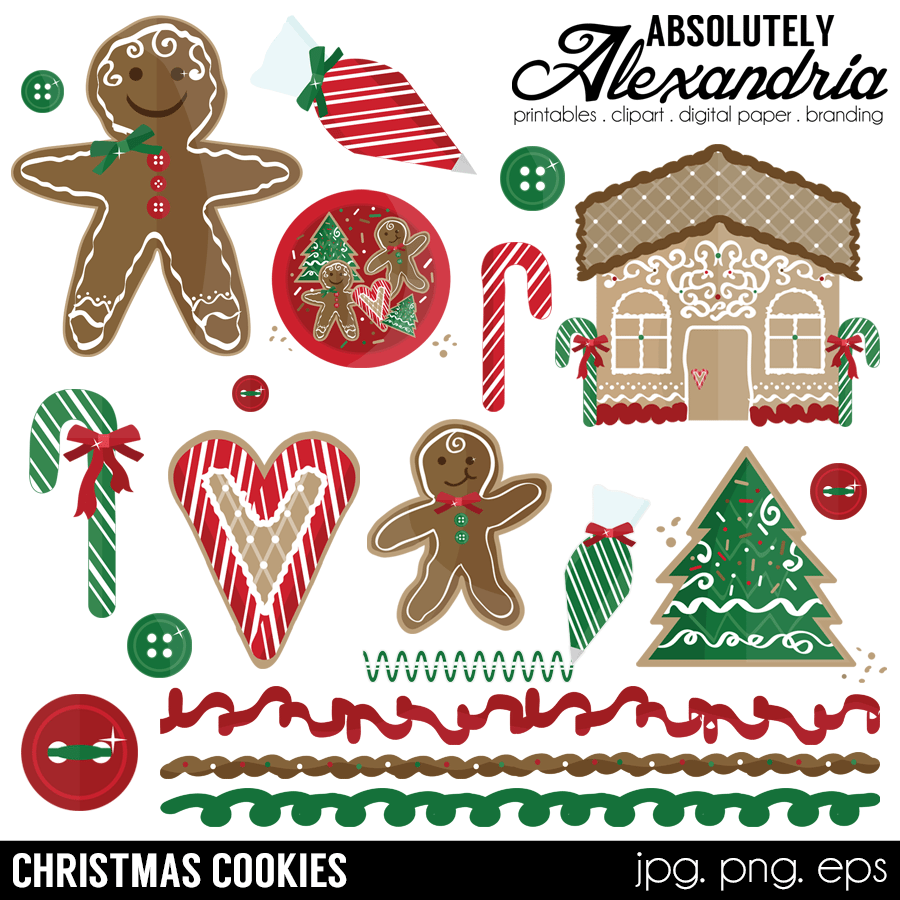 Christmas Cookies Clipart.Christmas Cookies Digital Clipart Graphics