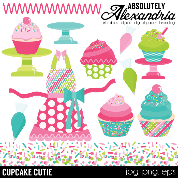 Cupcake Cutie Digital Clipart Graphics  Absolutely Alexandria    Mygrafico