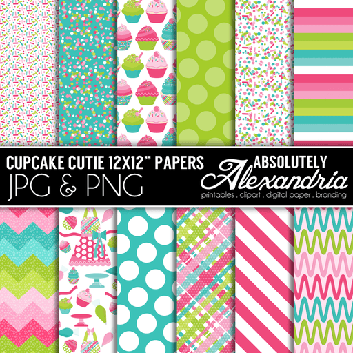 "Cupcake Cutie 12x12"" Digital Background Papers  Absolutely Alexandria    Mygrafico"