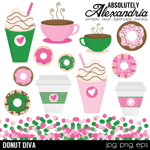 Donut Diva Digital Clipart Graphics  Absolutely Alexandria    Mygrafico