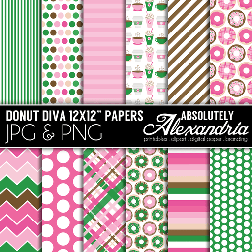 "Donut Diva 12x12"" Digital Background Graphics  Absolutely Alexandria    Mygrafico"