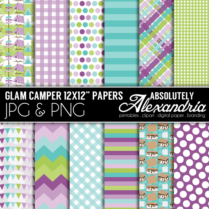 "Glam Camper Digital 12x12"" Background Papers  Absolutely Alexandria    Mygrafico"