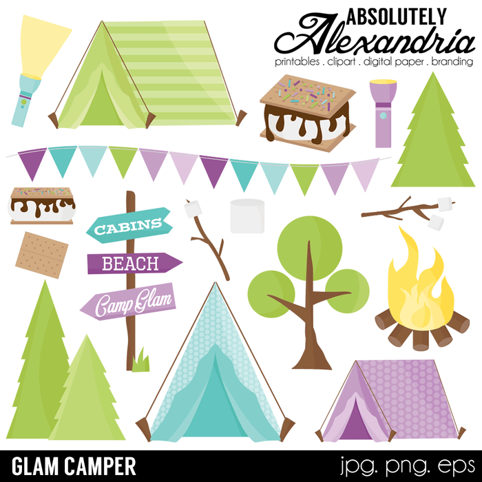 Glam Camper Digital Clipart Graphics  Absolutely Alexandria    Mygrafico