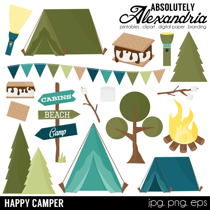 Happy Camper Digital Clipart Graphics