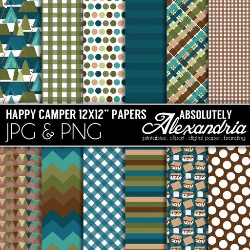 "Happy Camper 12x12"" Digital Background Graphics  Absolutely Alexandria    Mygrafico"