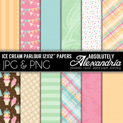 "Ice Cream Parlour 12x12"" Digital Background Papers  Absolutely Alexandria    Mygrafico"