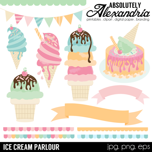 Ice Cream Parlour Digital Clipart Graphics  Absolutely Alexandria    Mygrafico