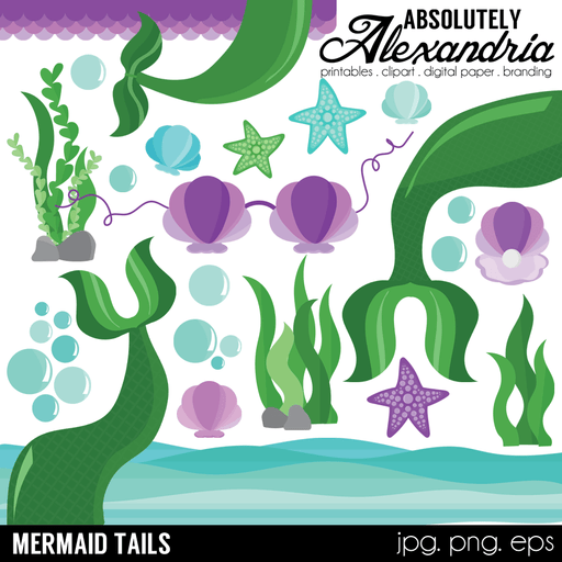 Mermaid Tails Digital Clipart Graphics  Absolutely Alexandria    Mygrafico