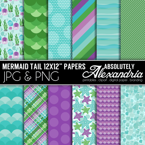 "Mermaid Tails 12x12"" Digital Background Papers  Absolutely Alexandria    Mygrafico"