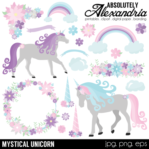 Mystical Unicorn Digital Clipart Graphics  Absolutely Alexandria    Mygrafico