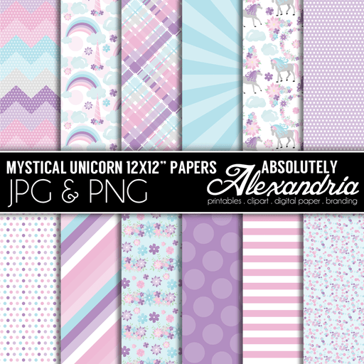 "Mystical Unicorn 12x12"" Digital Background Graphics  Absolutely Alexandria    Mygrafico"