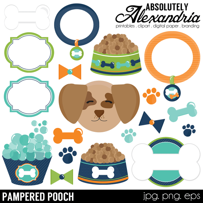 Pampered Pooch Digital Clipart Graphics  Absolutely Alexandria    Mygrafico