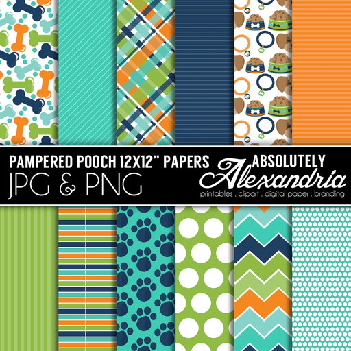 "Pampered Pooch 12x12"" Digital Background Papers  Absolutely Alexandria    Mygrafico"