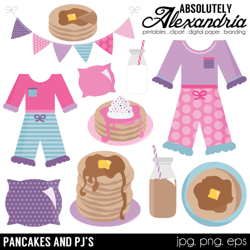 Pancakes & PJ's Digital Clipart Graphics  Absolutely Alexandria    Mygrafico