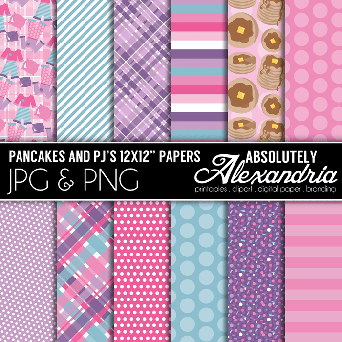 "Pancakes & PJ's 12x12"" Digital Background Papers  Absolutely Alexandria    Mygrafico"