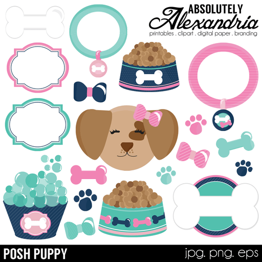 Posh Puppy Digital Clipart Graphics  Absolutely Alexandria    Mygrafico