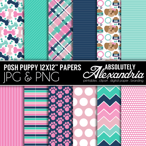 "Posh Puppy 12x12"" Digital Background Papers  Absolutely Alexandria    Mygrafico"