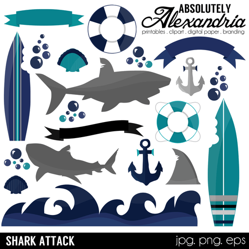 Shark Attack Digital Clipart Graphics  Absolutely Alexandria    Mygrafico