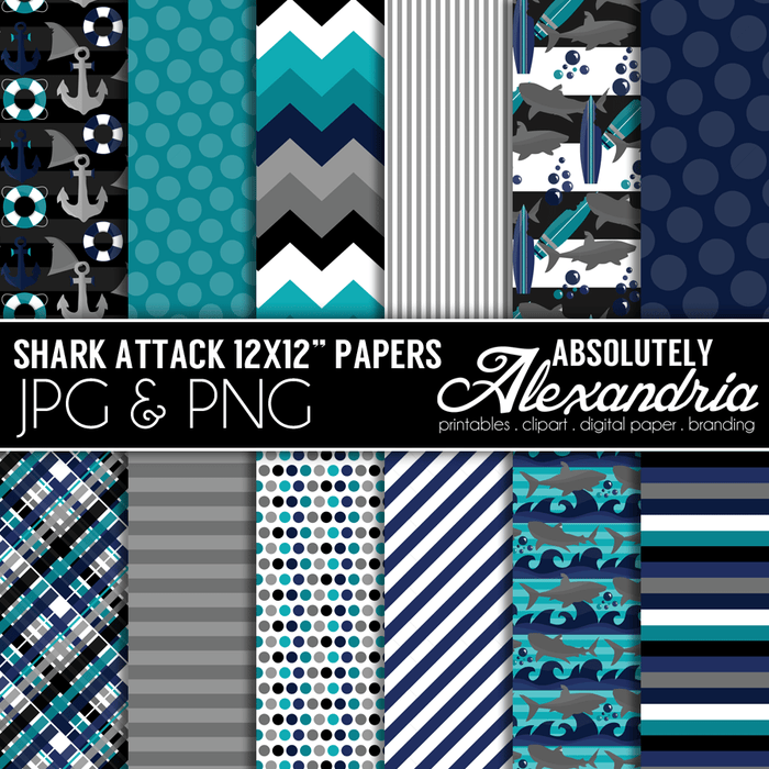 "Shark Attack 12x12"" Digital Background Papers  Absolutely Alexandria    Mygrafico"
