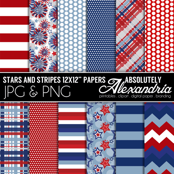 "Stars & Stripes 12x12"" Digital Background Papers"
