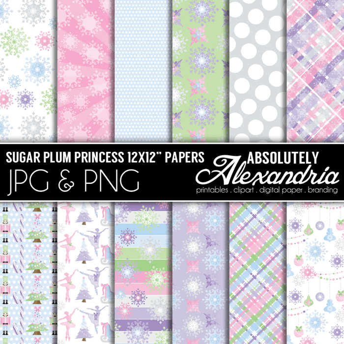 "Sugar Plum Princess 12x12"" Digital Background Graphics  Absolutely Alexandria    Mygrafico"