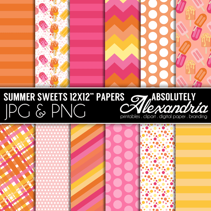 "Summer Sweets 12x12"" Digital Background Papers  Absolutely Alexandria    Mygrafico"
